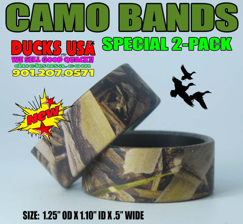"BANDS - CAMO Alum Duck Bands Special 2-Pack 1.25"" OD x 1.10"" ID x .5"" Wide"