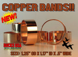 "BANDS - COPPER POLISHED Solid Copper Bands Special 10-Pack 1.25"" OD x 1.17"" ID x 1/2"""