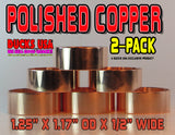 "BANDS - COPPER POLISHED Solid Copper Bands Special 2-Pack 1.25"" OD x 1.17"" ID x 1/2"""