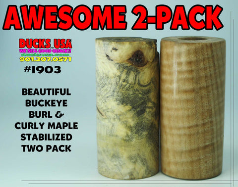 WOOD - BURL EXOTIC WOOD Two Pack BUCKEYE & CURLY MAPLE Stabilized Barrel Blanks #1903