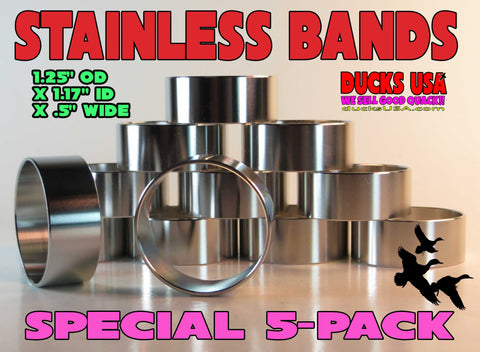 "BANDS - STAINLESS STEEL POLISHED BANDS - 1.25"" x 1/2"" Wide 5-PACK!!"