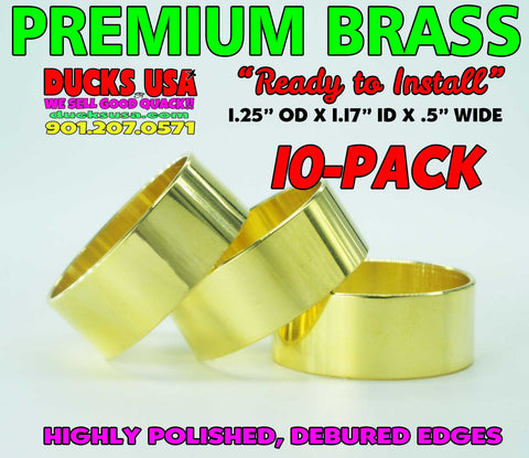 "BANDS - BRASS 1.25"" OD x 1.17"" ID x 1/2"" Wide HIGHLY POLISHED HEFTY 10-PACK"