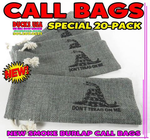 "BAGS - GAME CALL BAGS GUN SMOKE BURLAP w/ ""DON'T TREAD ON ME"" 20-PACK"