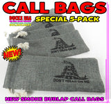 "BAGS - GAME CALL BAGS Smoke Burlap ""Don't Tread on Me""  SPECIAL 5-PACK"