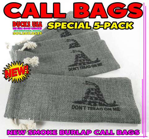 BAGS - GAME CALL BAGS Smoke Burlap SPECIAL 5-PACK - Great for Duck & Goose Calls