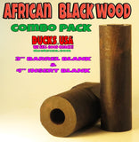 "WOOD - BARREL BLANK AFRICAN BLACKWOOD with Pre-drilled 5/8"" Bore Premium Selects!!"