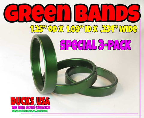 "BANDS - ""NARROW"" GREEN ALUMINUM BANDS 3-PACK - 1.25"" OD x 1.09"" ID x 1/4"" Wide"