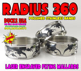 "BANDS - 360 FLYING MALLARDS RADIUS Polished Stainless 1.25"" OD x 1.17"" ID 2-PACK"