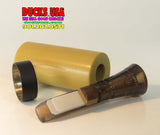 DUCK CALL KIT - ACRYLIC TAN Barrel with Smoke Raspy Hen 2.0 & Black Band