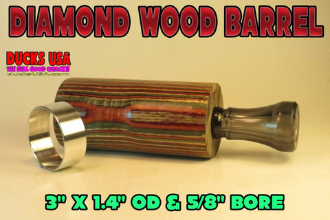 DUCK CALL KIT - Dymond Wood Desert Honey & SMOKE Big Bore Polycarb Insert Plus Polished Band