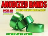 "BANDS - ANODIZED BRIGHT GREEN BANDS  1.25"" OD X 1.10"" ID X .5"" WIDE 10-PACK"