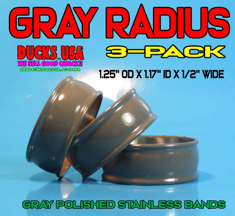 "BANDS -STAINLESS STEEL RADIUS GRAY Bands 1.25"" OD x 1.17"" ID 3-PACK"