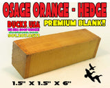 "WOOD - OSAGE ORANGE - HEDGE TURNING BLANK  PREMIUM SELECT 1.5"" X 1.5"" X 6"""
