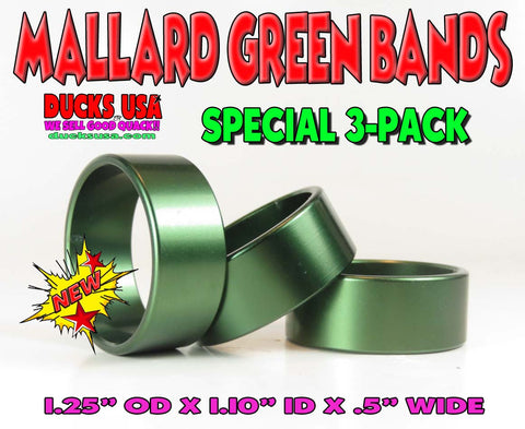 "BANDS - ANODIZED GREEN BANDS 1.25"" OD X 1.10"" ID X .5"" WIDE Special 3-PACK"
