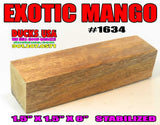 "WOOD - MANGO HAWAIIAN EXOTIC TURING BLANK 1.5"" X 1.5"" X 6"" STABILIZED HIGHLY FIGURED #1634"