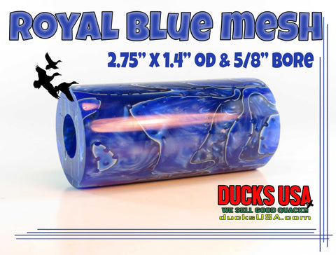 "ACRYLIC BARREL - BLUE ROYAL MESH Exotic Swirl 2.7"" x 1.4"" OD & 5/8"" Bore"