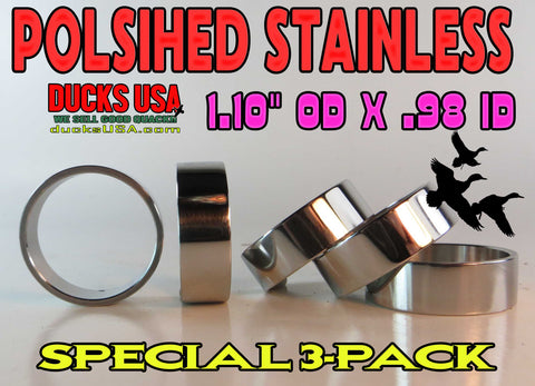 "BANDS - 1.10"" STAINLESS Polished 3-PACK 3/8"" Wide Super Nice Hard to Find RARE!!"