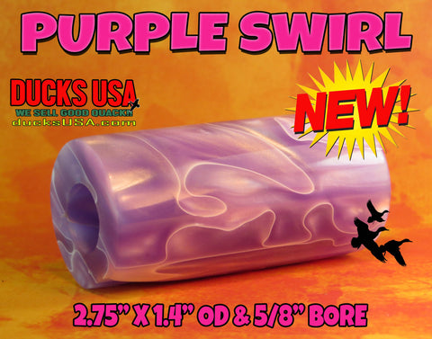"ACRYLIC BARREL - PURPLE SWIRL  Exotic Swirl 2.7"" x 1.4"" OD & 5/8"" Bore - 1 BARREL"