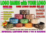 BANDS - LOGO BANDS LASER ENGRAVE 1- to 5- Bands with YOUR Name, Logo, Date, etc
