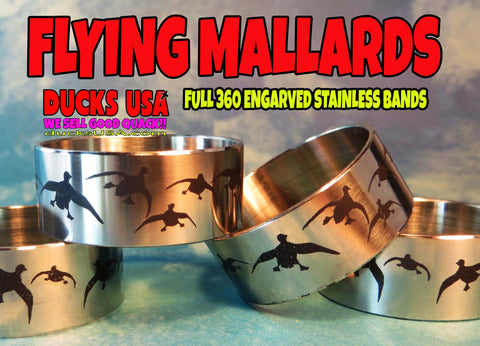 "BANDS - 360 FLYING MALLARDS Polished Stainless 1.25"" OD x 1.17"" ID Bands - 2 PACK"