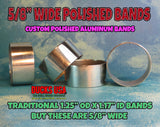 "BANDS - 5/8"" Wide POLISHED ALUM 2-PACK 1.14"" OD X 1.06"" ID Hand Polished & Ready to Install"