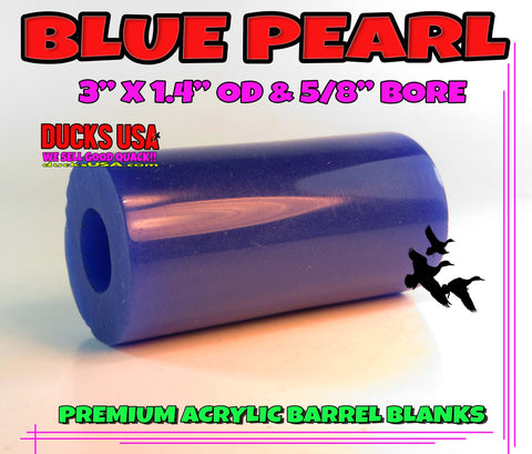 "ACRYLIC BARREL -  BLUE PEARL BARREL BLANK  2.7"" x 1.4"" OD & 5/8"" Bore - 1 BARREL"