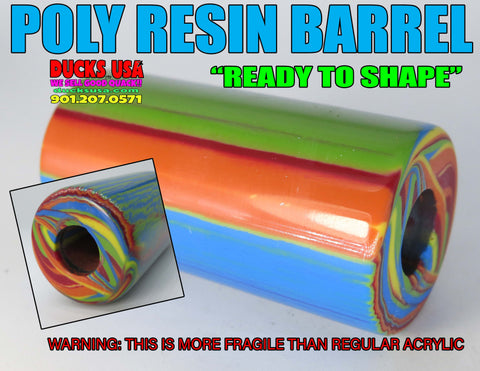 ACRYLIC BARREL - POLYESTER RESIN SERIES MULTI COLORED BARREL BLANK