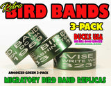 BANDS - ANODIZED GREEN Bird Band Replicas Laser Engraved FULL WRAP 3-Pack