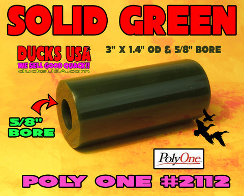 "ACRYLIC BARREL - SOLID GREEN Barrel Blank 2.7"" x 1.4"" OD & 5/8"" Bore"