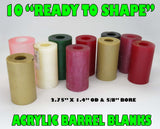 "ACRYLIC -  ACRYLIC BARREL BLANKS 10-PACK ""READY TO SHAPE"" MIXED COLORS"