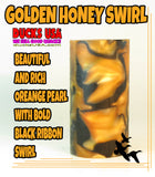 "ACRYLIC BARREL - GOLDEN HONEY Exotic Swirl 2.7"" x 1.4"" OD & 5/8"" Bore - 1 BARREL"