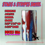 "ACRYLIC BARREL - STARS & STRIPES Exotic Swirl Barrel 2.7"" x 1.4"" OD & 5/8"" Bore"