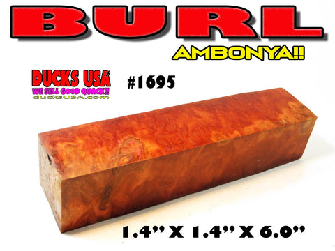WOOD - AMBOYNA BURL w/ SAP Wood Amazing Turning Blank Premium Select #1695
