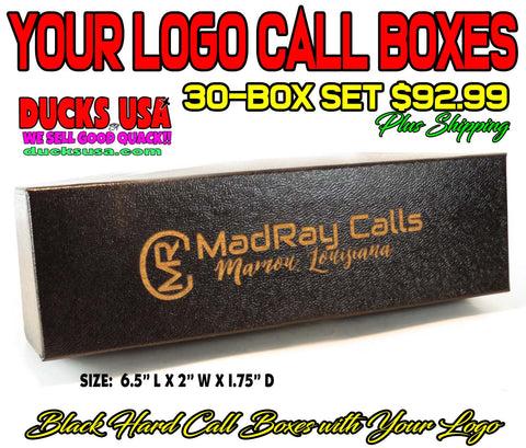 BOXES - LOGO CALL BOXES BLACK HARD STYLE 30-BOX SET with YOUR LOGO Laser Engraved