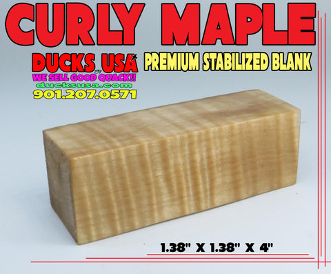 "WOOD - CURLY MAPLE STABILIZED PREMIUM SELECT 1.3"" X 1.3"" X 4"""