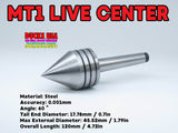 LATHE ACCESSORIES - LIVE ACTION MT1 Premium Tailstock Center w/ Sealed Ball Bearings