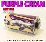 "ACRYLIC BARREL - PURPLE CREAM EXOTIC SWIRL -  2.7"" x 1.4"" OD & 5/8"" Bore"