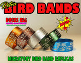 BANDS - BIRD BAND REPLICAS GUN METAL GRAY Full 360 Laser Engraved  2-Pack