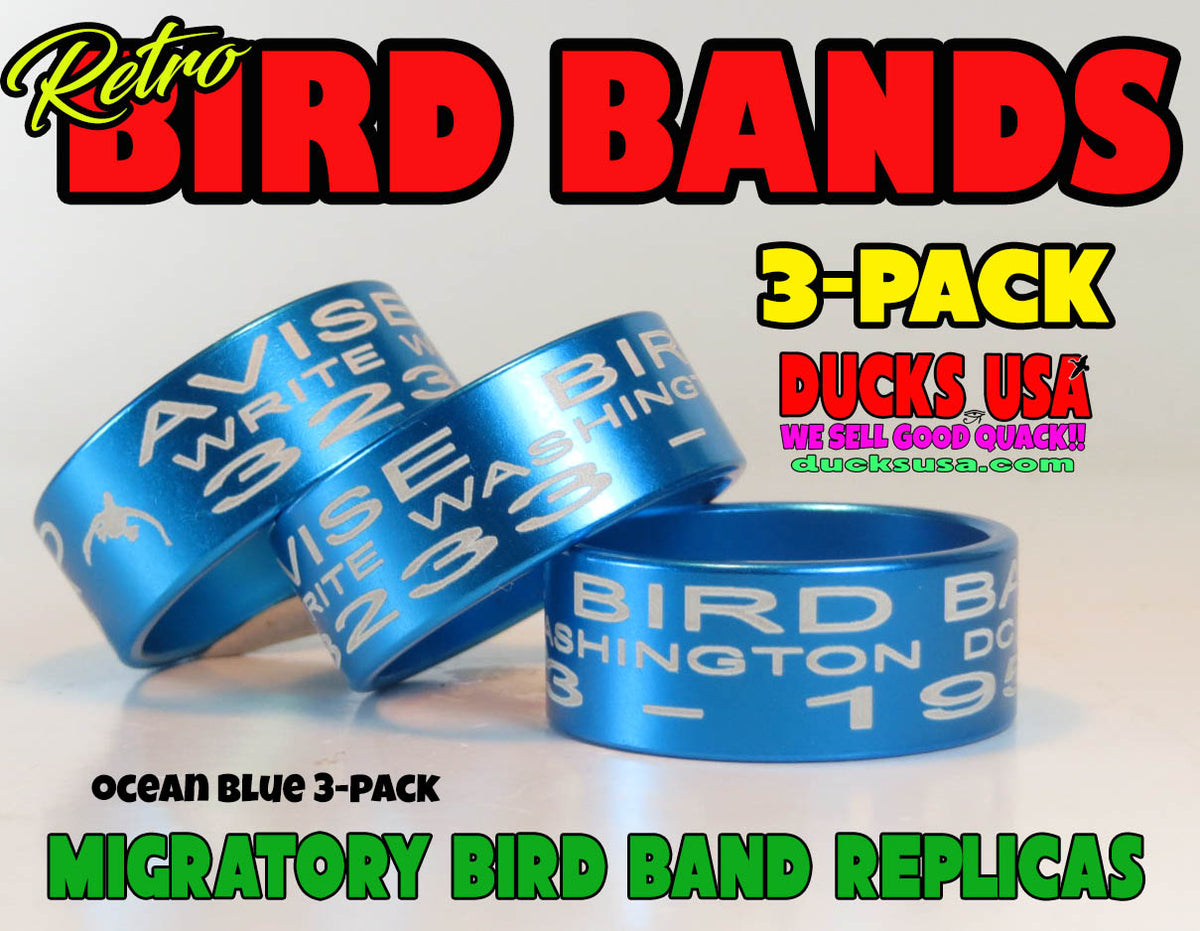 Bands Anodized Blue Bird Band Replicas Laser Engraved