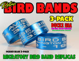 BANDS - ANODIZED BLUE Bird Band Replicas Laser Engraved FULL WRAP 3-Pack