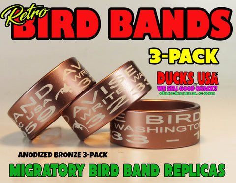 BANDS - ANODIZED BRONZE Bird Band Replicas Laser Engraved FULL WRAP 3-Pack