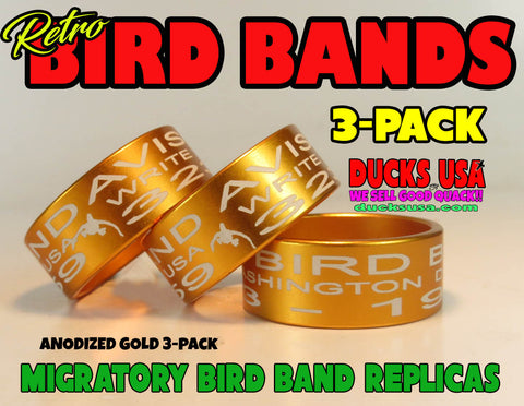 BANDS - ANODIZED GOLD Bird Band Replicas Laser Engraved FULL WRAP 3-Pack
