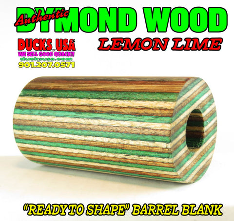 DYMOND WOOD - AUTHENTIC LEMON LIME Barrel Blank  VERY RARE COLOR