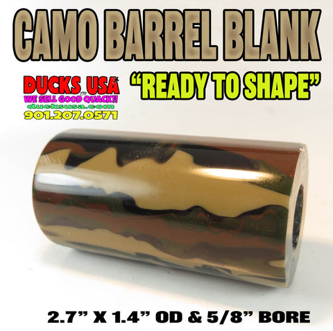 "ACRYLIC BARREL - CAMO Exotic Swirl Barrel Blank 2.7"" x 1.4"" OD & 5/8"" Bore"