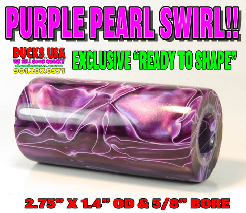 "ACRYLIC BARREL - PURPLE PEARL SWIRL Barrel Blank 2.7"" x 1.4"" OD & 5/8"" Bore"