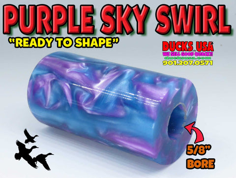 "ACRYLIC BARREL -  PURPLE SKY EXOTIC SWIRL FEB 2020 - 2.7"" x 1.4"" OD & 5/8"" Bore - 1 BARREL"