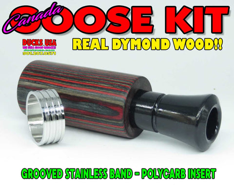 GOOSE CALL KIT - DYMOND WOOD RED AUTHENTIC RARE w/BLACK CANADA Insert & Grooved SS Band