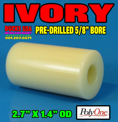 "ACRYLIC BARREL - SOLID IVORY Barrel Blank 2.7"" x 1.4"" OD & 5/8"" Bore Top Grade Acrylic!!"