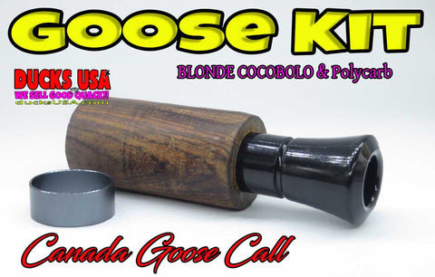 GOOSE CALL KIT - CANADA COCOBOLO KIT w/ Hand Tuned Black Polycarb Insert & Gun Metal Gray Band