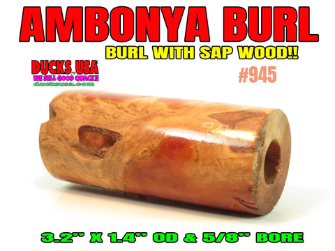 WOOD - AMBOYNA BURL w/ SAP Wood Amazing Barrel Blank #945